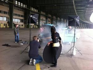 Shooting mit dem Chevy 57 auf dem Vorfeld des Flughafen Tempelhof
